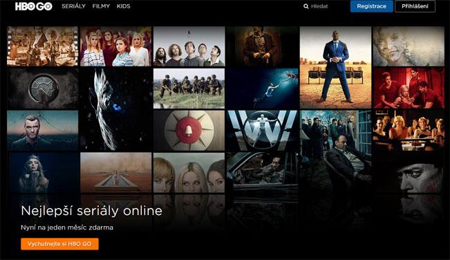 Titulní stránka služby HBO GO obsahuje přesné informace