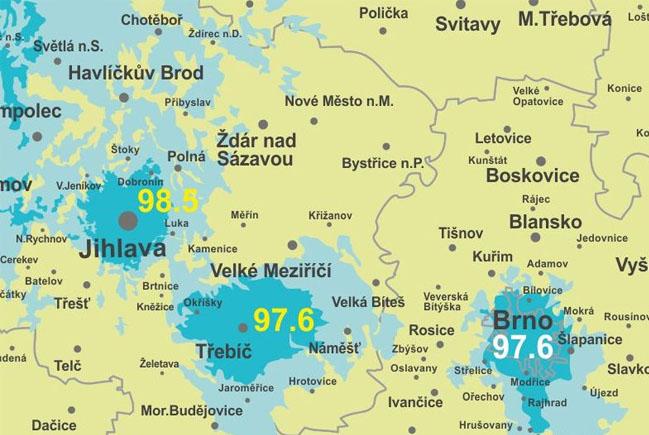 Mapka pokrytí frekvence 97,6 FM Třebíč a dalších frekvencí Rádia HEY v okolí