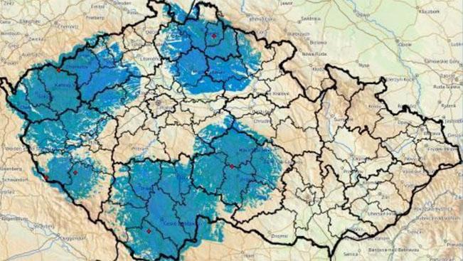 Multiplex 1a / Regionální síť 7, dotčené oblasti v rámci prosincového přeladění. Zdroj: Česká televize