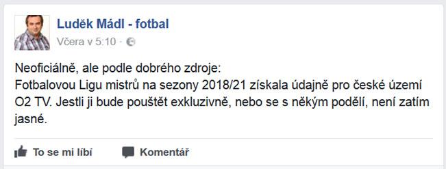 Status novináře Luďka Mádla na sociální síti. Screenshot
