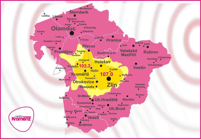 Aktuální mapa pokrytí Radia Kroměříž