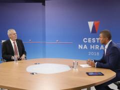 Prezident Miloš Zeman ve studiu TV Nova s Reyem Korantengem. Foto: archiv TV Nova