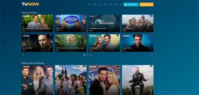 Ukázka úvodní obrazovky platformy NOW TV v Německu. Screenshot