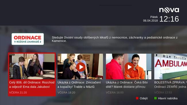 Ukázka hybridní aplikace TV Nova v rámci satelitního vysílání. Aplikace v zemském vysílání se může lišit. Screenshot RadioTV