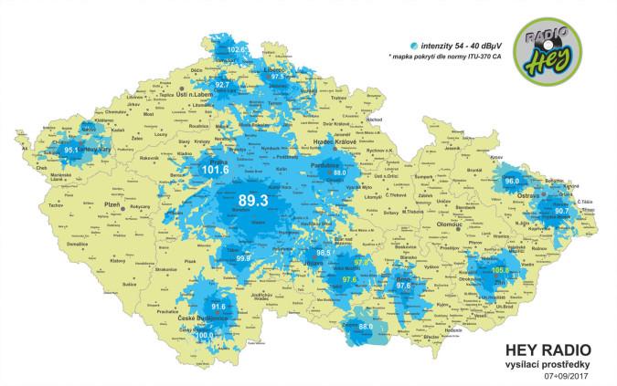 Pokrytí HEY rádia, kliknutím zvětšíte. Zdroj: Heyradio.cz