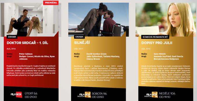 Nejbližší premiéry na programech FilmBox. Zdroj: mediakit FilmBox za měsíc červen