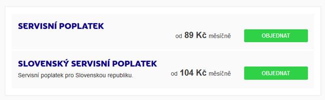 Servisní poplatek pro slovenské programy je dražší minimálně o 15 Kč měsíčně. Screenshot RadioTV.cz