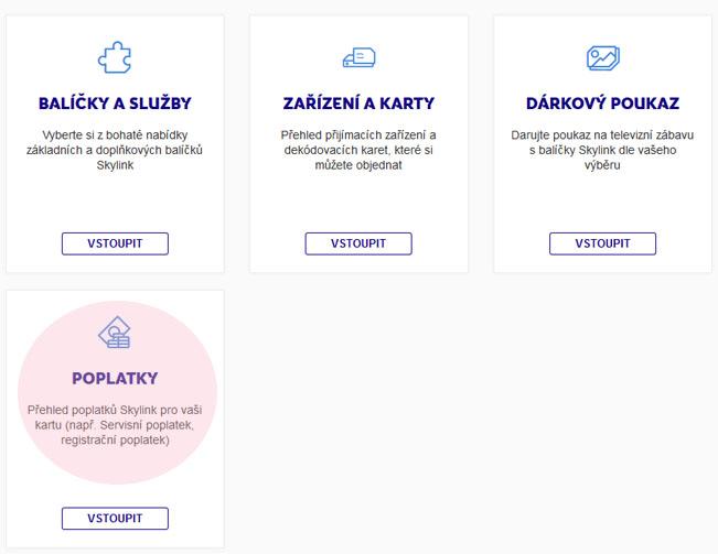 Vyznačení sekce v Zákaznické zóně Skylinku, kde můžete najít možnost zaplacení Servisního poplatku pro slovenský trh. Screenshot RadioTV.cz