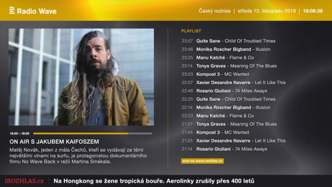 KLIKNUTÍM ZVĚTŠÍTE - Ukázka vizuální podoby Rádia Wave ve službě O2 TV. Ukázku poskytl Český rozhlas