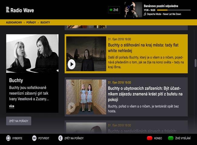 Ukázka HbbTV aplikace Radia Wave, zdroj: Český rozhlas