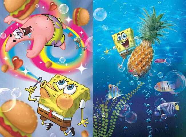 Spongebob v kalhotách s nejlepším kamarádem Patrickem. Zdroj: PR zastoupení Viacom International Media Networks pro ČR