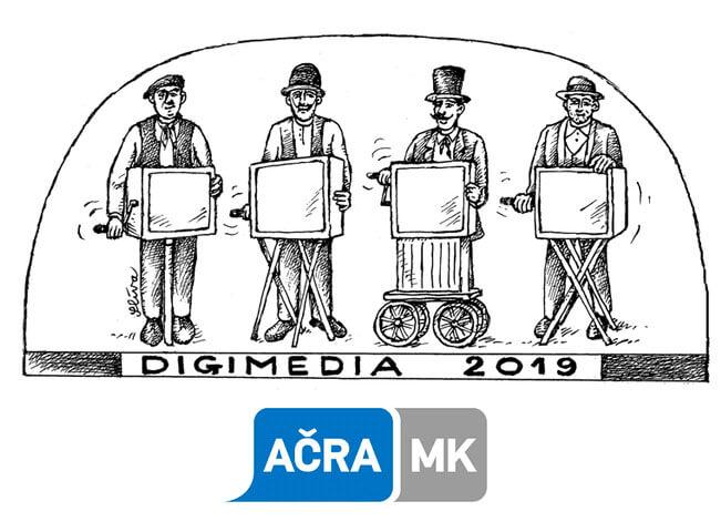 Logo konference DIGIMEDIA 2019, kterou pořádá Asociace českých reklamních agentur a marketingové komunikace (AČRA MK)
