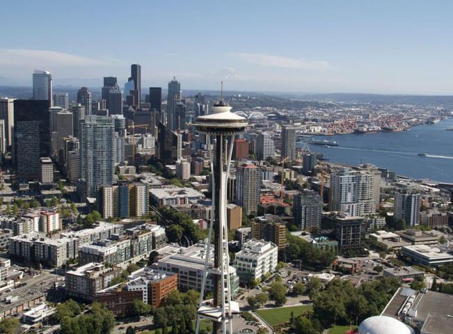 Fotografie z cyklu Nádherná americká města. Pohled na Seattle