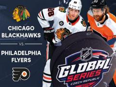 Poutač k zápasu NHL Global Series 2019 v Praze.