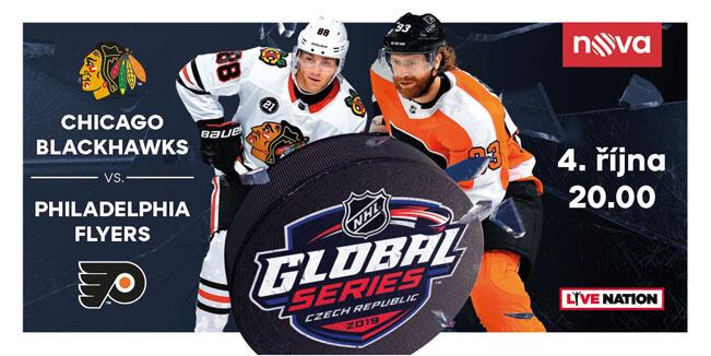 Poutač k zápasu NHL Global Series 2019 v Praze mezi Chicago Blackhawks a Philadelphia Flyers. Zdroj: TV Nova